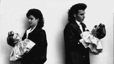 """""""David Kairuz (left) and Warren Rogers, both apprentices at Fairfield Hair Forum, with dummy models at Centrepoint auditorium on June 22, 1986."""""""
