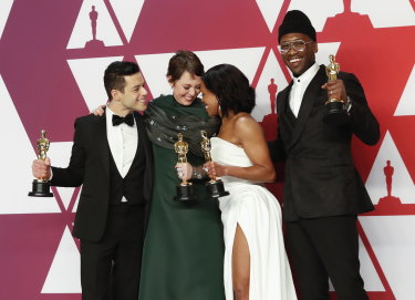 From left: Oscar winners Rami Malek (Bohemian Rhapdosy), Olivia Colman (The Favourite), Regina King (If Beale Street Could Talk) and Mahershala Ali (Green Book).