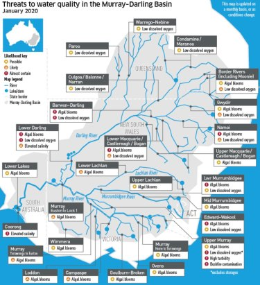 Most river valleys in the Murray-Darling Basin have warnings of possible or current algal blooms, while some are also reporting contamination from bushfires.
