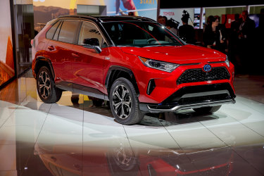 Toyota's RAV4 is among that company's hybrid vehicle offerings. The Japanese carmaker says it hold about a 90 per cent share of the Australian market for hybrid-electric cars.