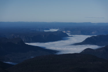 Lake Burragorang, which sits behind Warragamba dam, shrouded in cloud early in the spring.