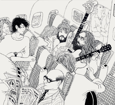 Yoko, Dan Richter (assistant), Alan White (drums), Klaus Voormann (bass), Eric Clapton (guitar) and John (guitar) rehearsing for the first time on board the plane to Toronto.