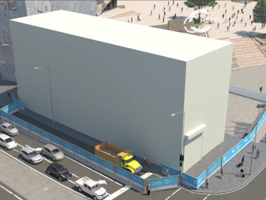 The new acoustic shed set to tower over Federation Square in order to build an entrance to the new Town Hall underground station.