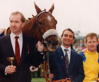 Trainer Dermot Weld, left, and jockey Michael Kinnane with Vintage Crop in 1993, the first international traveller to win the Melbourne Cup.