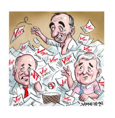 Virgin shareholders Brett Godfrey, John Borghetti and Neil Chatfield.