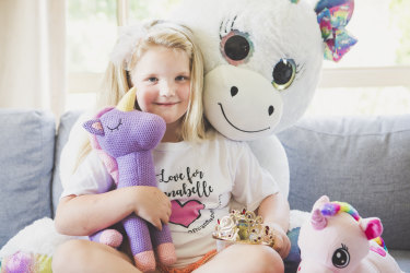 'I will miss her so much': seven-year-old Ellie De Landre-Line wrote books and poems, and sent a video every day to make friend Annabelle Potts smile.