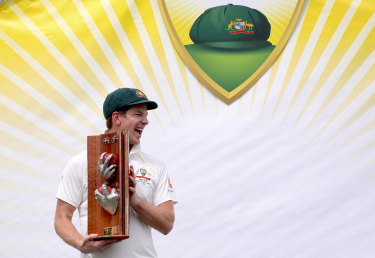 Finally: After months of torment, Tim Paine was able to pick up a trophy after a series win as captain.