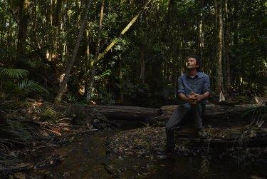 Ecologist from Bellingen Nature Tours, Mark Graham, inside the Orara East State Forest, near Coffs Harbour.