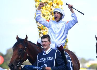 Hugh Bowman roars in triumph as he returns on Farnan.