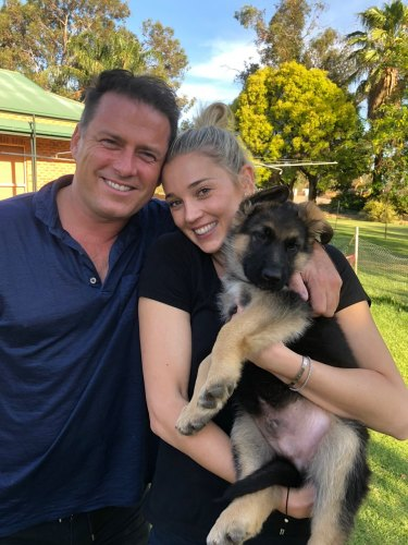 Karl Stefanovic and Jasmine Yarbrough and their new puppy, Chance The Yapper.