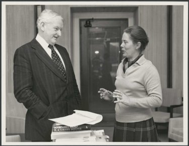 Gay Davidson, first woman bureau chief in the Federal Parliamentary Press Gallery, interviewing Frank Crean in his office, Parliament House, Canberra, 1975