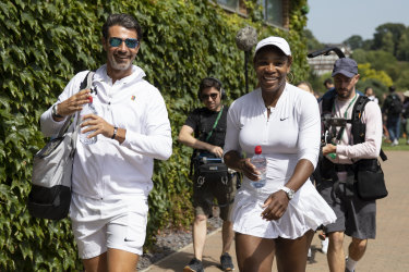 Serena Williams with her coach Patrick Mouratoglu on Saturday.