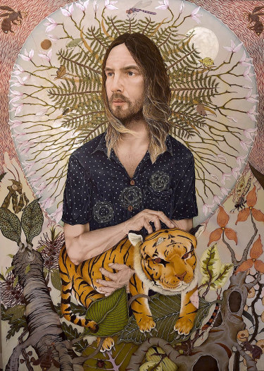 'Kevin Parker/The Moment', Acrylic & mixed media on panel, by Cameron Potts.