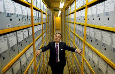 National Archives director David Fricker with some of the institution's vast holdings. The Archives has trebled the number of formal members since starting a fundraising drive.