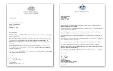 The correspondence between Senator Pauline Hanson and Opposition Leader Bill Shorten.