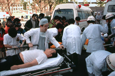 Subway pasengers affected by the sarin nerve gas attack are treated on March 20, 1995.