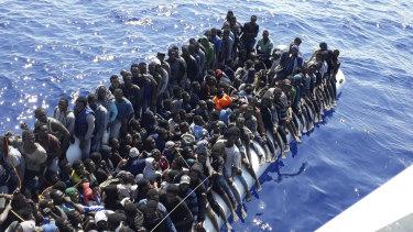 Migrants intercepted on a ship near Tripoli last week.