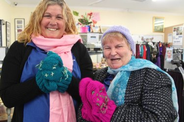 Margaret Rogers and Karen Roughton fromSt Vincent de Paul rugging up for the cool weather