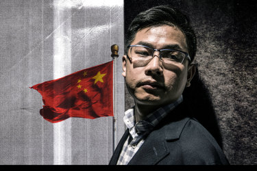Wang Liqiang, a Chinese spy who has defected to Australia. Illustration: Mark Stehle, Portrait: Steven Siewert