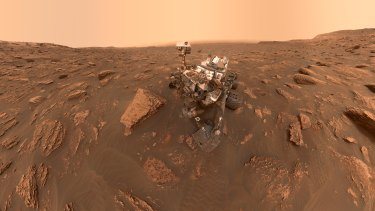 A self-portrait of NASA's previous rover, Curiosity, taken at Gale Crater on Mars.