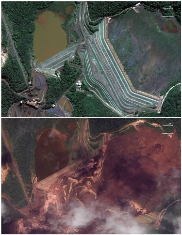 Satellite images compare the dam in Brumadinho, Brazil, before and after the collapse.