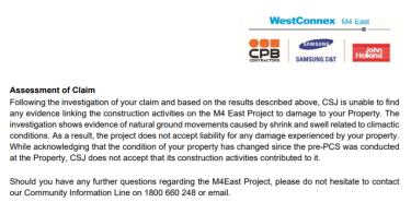 Letter to a resident rejecting their 'claim' for compensation for damages to their property from the WestConnex project.