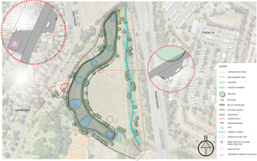 The Narrabundah site, to be constructed along 420 metres of the Jerrabomberra Creek, will include a chain of six open water ponds.