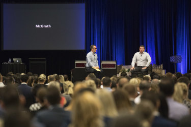 John McGrath speaks at the McGrath Kickstart 2018 conference at the Royal Randwick Racecourse.