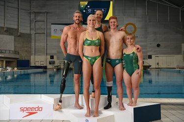 Paralympic team members  Brenden Hall, Keira Stephens, Ellie Cole, Cole Pearse, and Tiffany Thomas Kane.