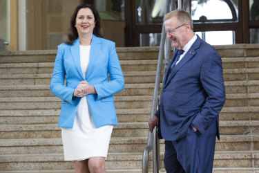 Australia's Olympic supremo John Coates, pictured with Queensland Premier Annastacia Palaszczuk, played a key role in building political support for Brisbane's 2032 bid.