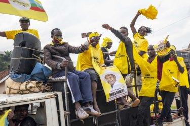 Supporters of Ugandan President Yoweri Kaguta Museveni celebrate in Kampala.