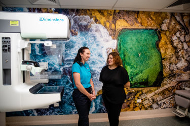Helen Karakontis, who has been diagnosed with hereditary breast cancer, with Jasmine Hancock, a radiographer at the Royal Hospital for Women, whose foundation raised funds to refurbish its diagnostic room.