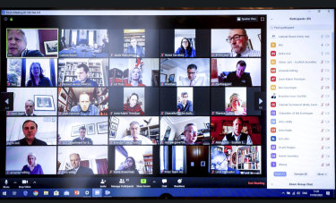UK Prime Minister Boris Johnson released a screenshot of his first digital cabinet meeting held on the video conferencing app Zoom, Tuesday, March 31, 2020.