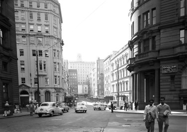 Street scene on the corner of Hunter Street and O'Connell Street in the Sydney CBD on 19 November 1958.