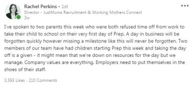 Rachel Perkin's LinkedIn post has prompted working parents to share experiences of poor workplace culture.