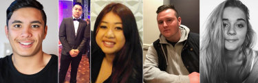 The inquest is examining the deaths of (L-R) Joshua Tam, Hoang Nathan Tran,  Diana Nguyen, Callum Brosnan and Alex Ross-King.