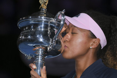 Naomi Osaka savours her moment at Melbourne Park.