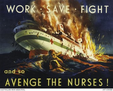 The sinking of HS Centaur, depicted on this poster, took place off the Queensland coast on May 14, 1943. The ship sank in just three minutes, killing 268 people.
