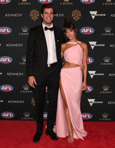 Ben Stratton of the Hawks and Laura Griffin arrive
