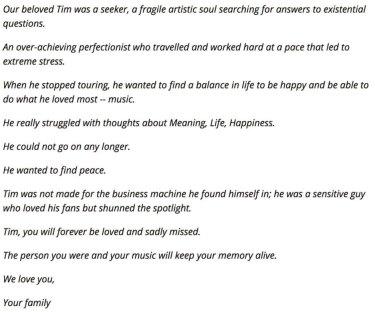 Full statement from Avicii's family.