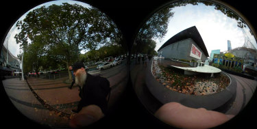 Shaun Gladwell shot images in Southbank, including outside the Arts Centre and NGV, with his VR camera.