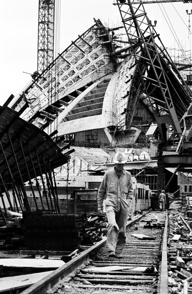 Sydney Opera House construction, 1965.