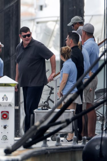 """James Packer in Mexico last week, where he has been chartering superyachts while he awaits the arrival of his $200 million """"gigayacht""""."""