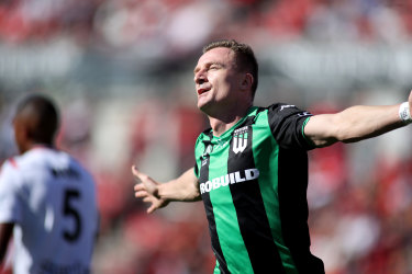 Decisive: Western United's Besart Berisha.