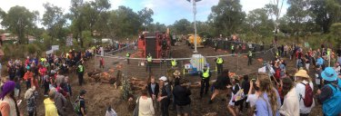 The protesters sought to stop a highway being built through one of Perth's last remaining large urban wetlands.
