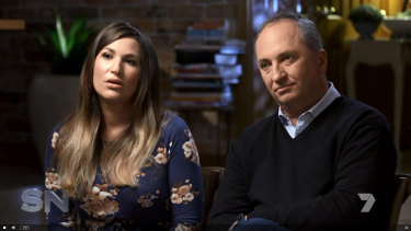 Vikki Campion and Barnaby Joyce in their paid television interview with Channel Seven's Sunday Night.
