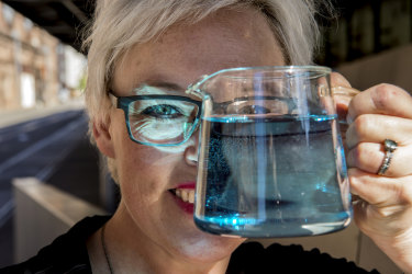 Sydney Tea Festival co-founder Corinne Smith with a pot of blue Vivid Colour Changing Tea