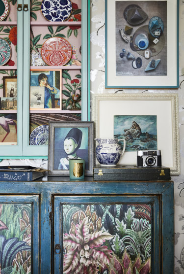 """Robyn's office is a source of inspiration to her. Ceramics, books, cherished mementos and artworks form """"a constantly changing installation""""."""
