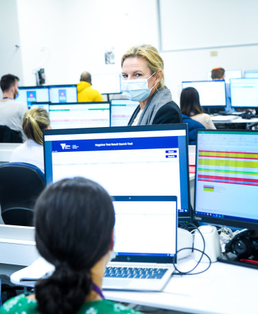 """""""We own it"""": South East Public Health Unit director Rhonda Stuart inside the contact tracing """"war room"""" at the Monash Medical Centre."""