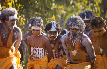 Members of the Gumatj clan perform a ceremonial dance at Garma .